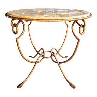 John Richard Marble & Gilt Iron Gueridon Table For Sale