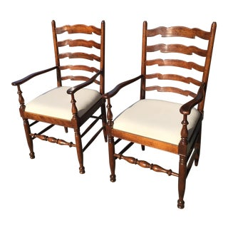 Ladderback Walnut Armchairs - A Pair For Sale