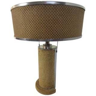 Cork and Chrome Machine Age Lamp in the Manner of Donald Deskey For Sale