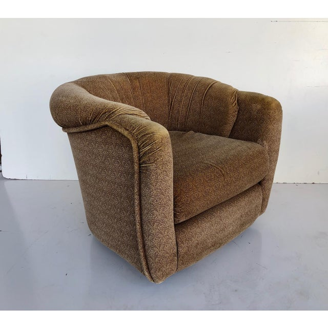Taupe Vintage 1970s Milo Baughman Swivel Chairs - a Pair For Sale - Image 8 of 9