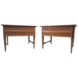 Pair of Vintage Modern Cane Front End Tables by Lane For Sale