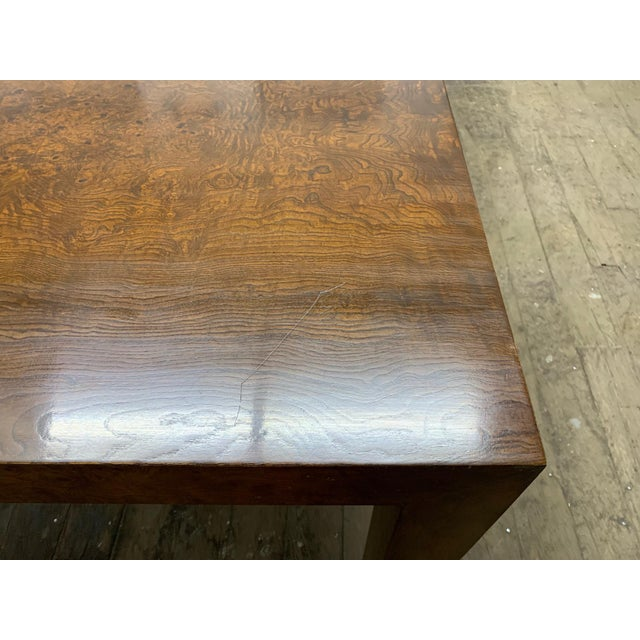 Milo Baughman Burl Wood Dining Table With Two Leaves For Sale In New York - Image 6 of 9
