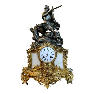 """Early Antique French Figural Knight & Sword Gilt Statue Clock Signed """"Avi"""" For Sale"""