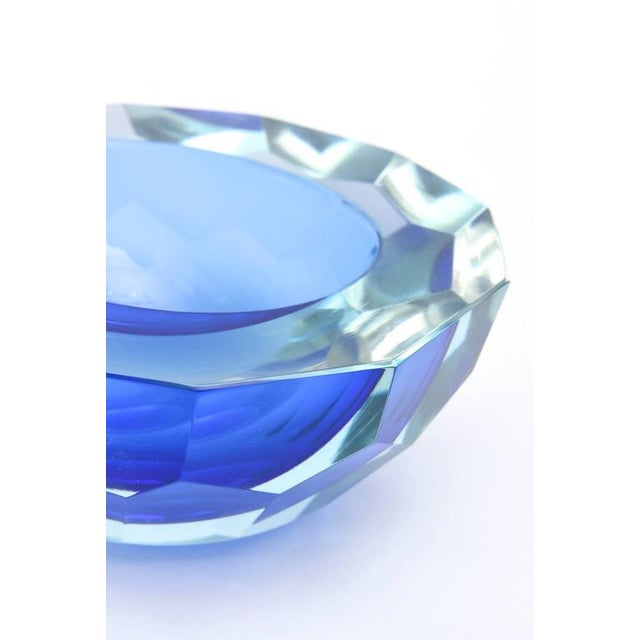 Italian Murano Sommerso Diamond Faceted Flat Cut Polished Glass Geode Bowl - Image 6 of 9