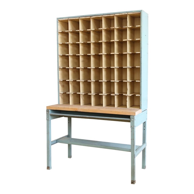 Vintage Industrial Mail Sorter Bar Shelf / Cabinet Desk For Sale