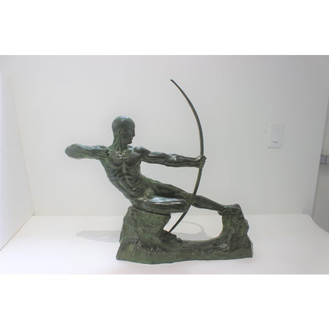 Metal Art Deco Bronze Sculpture Hercules the Archer by Victor Demanet 1925 For Sale - Image 7 of 13