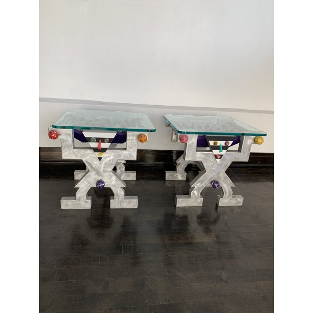 1990s Memphis Judith Stauffer Rick Hubbard Design PoMo End Tables - a Pair For Sale In Chicago - Image 6 of 6