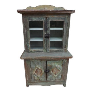 Antique Child's Yellow Pine Cupboard For Sale
