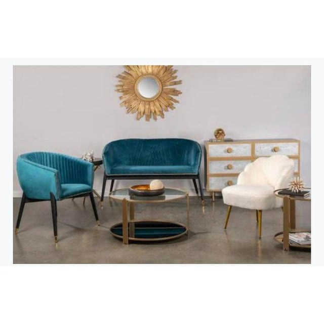 Lucy Studded Settee in Teal For Sale In Los Angeles - Image 6 of 7