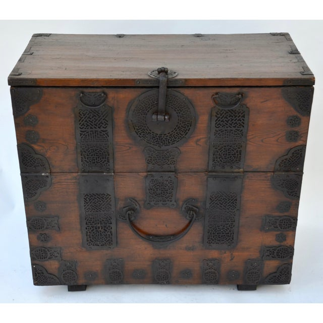 A wonderful 19th century wood Korean Bandaji storage chest with lovely intricate ironwork, used for blankets and...