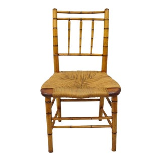 19th Century English Regency Style Faux Bamboo Woven Rush Seat Side Chair For Sale