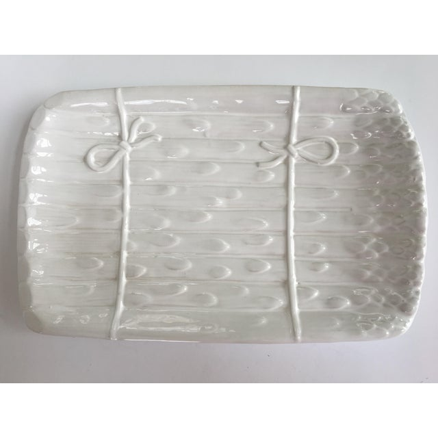 Large - White on White Glazed Asparagus Platter Made in Portugal For Sale - Image 11 of 11