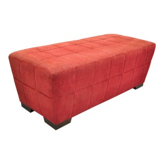 Directional Red Upholstered Modern Charles Ottoman For Sale