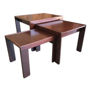 1960s Afra & Tobia Scarpa for Cassina Rosewood Nesting Tables - Set of 3 For Sale