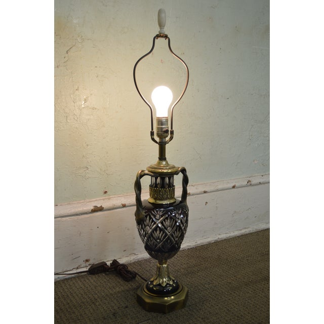 Bohemian Czech Ruby Red Crystal Cut to Clear Bronze Table Lamp For Sale In Philadelphia - Image 6 of 13
