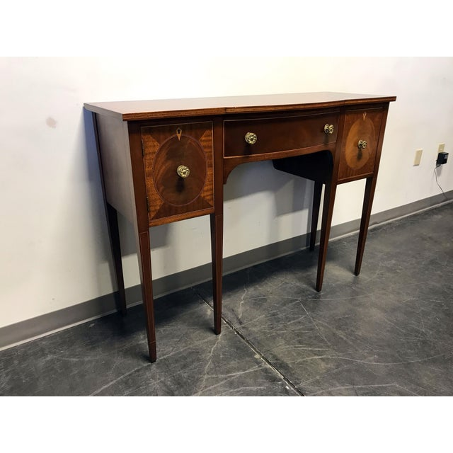Late 19th Century Inlaid Mahogany Walnut Satinwood Bow Front Sideboard / Console - Image 3 of 11