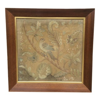 Antique Bird Needlework Art For Sale