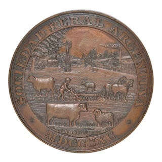 International Exhibition of Livestock & Agriculture Buenos Aires Bronze Medal c.1890 For Sale