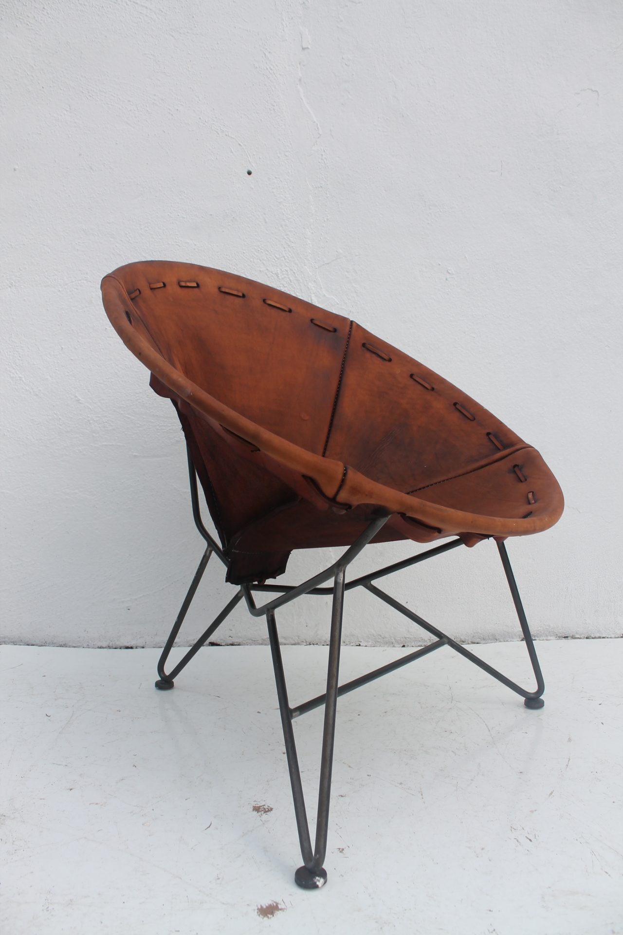 Acapulco Chair By Garza Marfa Saddle Leather Oval Chair With Stainless  Steel Frame. Can Be