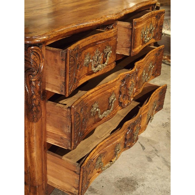 French Walnut Wood Commode From Lyon, Circa 1750 For Sale - Image 4 of 13