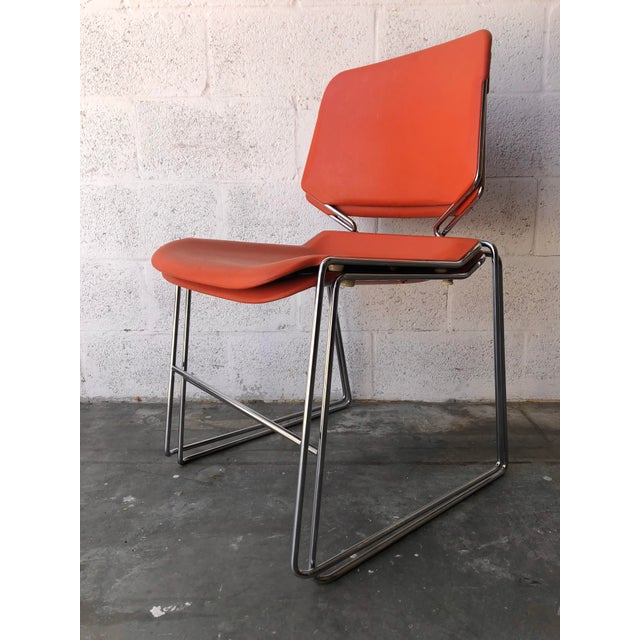 Vintage Mid Century Modern Matrix Krueger Stackable Chairs- Set of Two. For Sale - Image 12 of 13