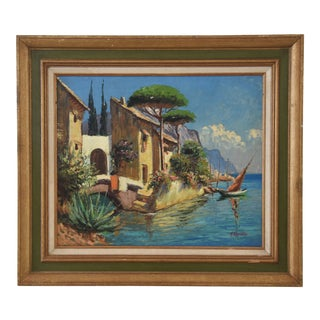 Midcentury Italian Mediterranean Lake & Village by A. Ravello For Sale