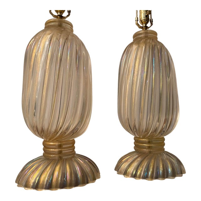 Pair of exquisite Barovier & Toso handblown Murano glass lamps with gold inclusions. Features include scalloped edges to...