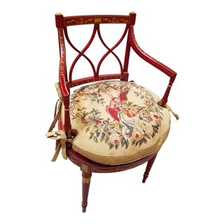 1980s Vintage Painted Regency Style Chair with Cane Seat and a Needlepoint Down Cushion For Sale