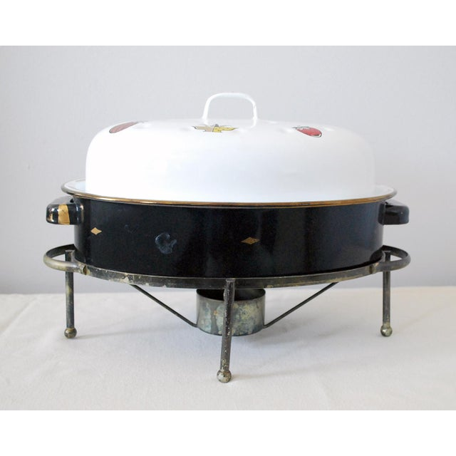 Mid-Century Modern Mid-Century Georges Briard Enamel Roaster With Warming Stand For Sale - Image 3 of 6