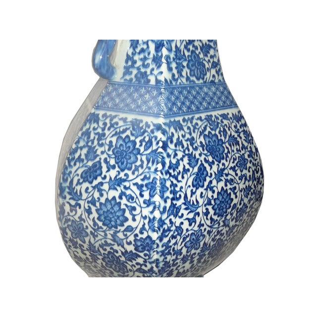 Asian Blue & White Porcelain Hexagon Lotus Flower Vase For Sale - Image 3 of 7