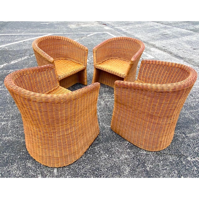 Vintage Boho Chic Rattan Barrel Chairs -Set of 4 For Sale In Miami - Image 6 of 13