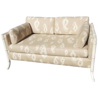 1960s Vintage Ikat Upholstery Settee For Sale