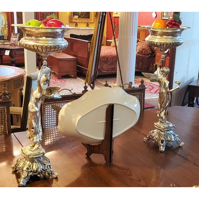 English Chromed Angel Centerpieces - a Pair For Sale - Image 3 of 13