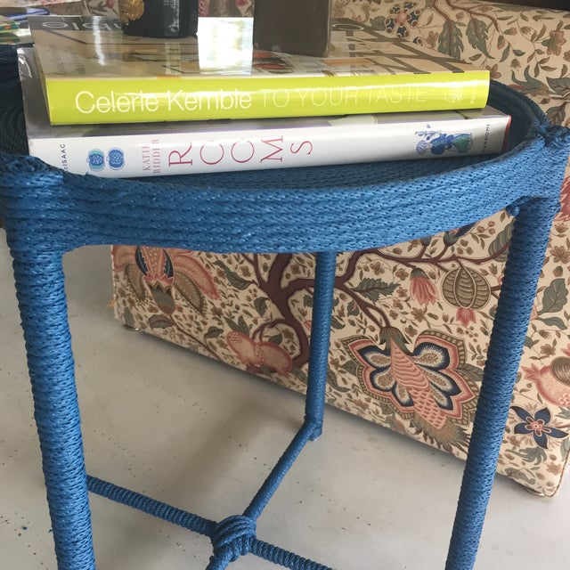 Contemporary Prussian Blue Rope Side Table For Sale - Image 4 of 8
