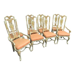 Vintage Mid Century Drexel Heritage Sketchbook Collection Asian Painted Dining Chairs- Set of 8 For Sale