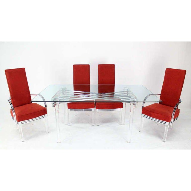 Mid-Century Modern Set of Six Dining Chairs and Table in Lucite, Chrome, Glass For Sale - Image 9 of 9