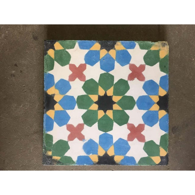 1990s Moroccan Hand-Crafted encaustic Cement Tile with Traditional Fez Moorish Design - Set of 56 For Sale In Los Angeles - Image 6 of 13