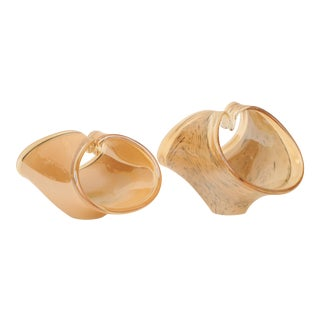 Murano Folded Glass Baskets, Set of 2 For Sale