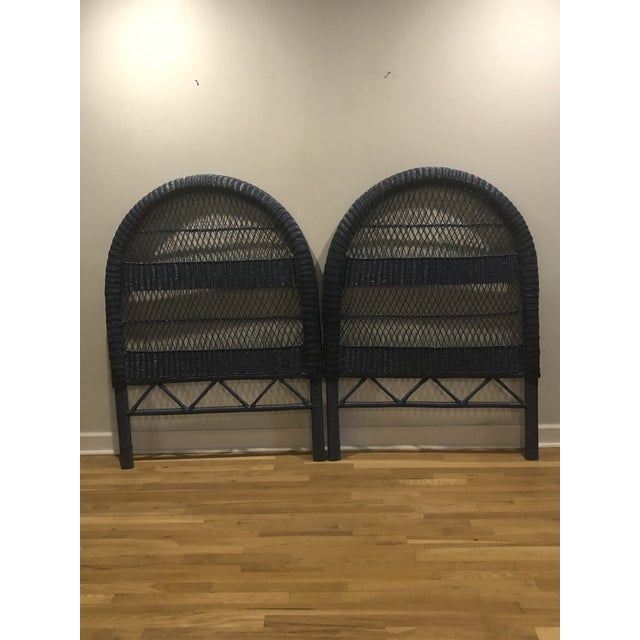Vintage French Blue Wicker Twin Headboards - a Pair For Sale - Image 11 of 11