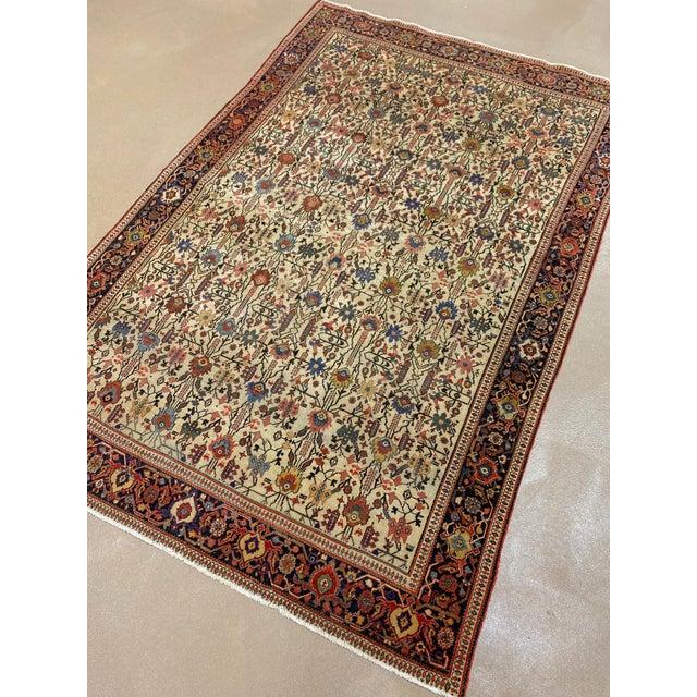 "Classic Antique Persian Sarouk Rug, 4'4"" X 6'5"" For Sale - Image 10 of 11"