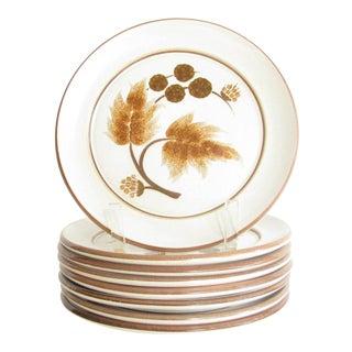 Vintage Denby Cotswold Pottery Salad Plates With Brown Leaves Design - Set of 8 For Sale
