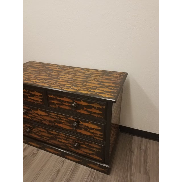 Wood Antique English Fish Decoupage Chest of Drawers - Two Drawers Over Two Drawers For Sale - Image 7 of 13