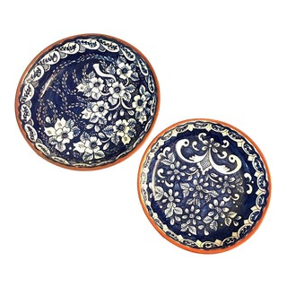 Blue Talavera Pottery Deep Dishes - a Pair