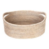 Image of Artifacts Rattan Oval Basket With Cutout Handles in White Wash For Sale