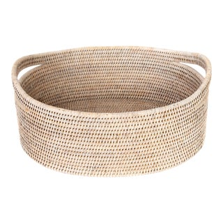 Artifacts Rattan Oval Basket With Cutout Handles in White Wash For Sale