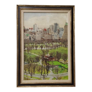 New York City Central Park South Original Oil Painting by Morrison C.1970 For Sale