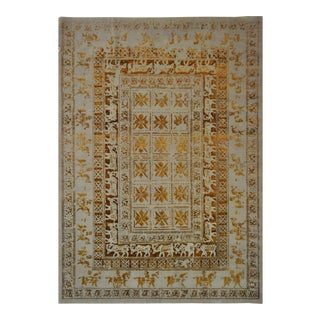 Beige and Gold Wool Hand Knotted Area Rug With Animal Motifs - 5'9 X 8' For Sale
