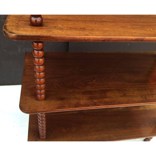 Brown English Console Shelves of Mahogany with Bobbin Turned Supports For Sale - Image 8 of 11