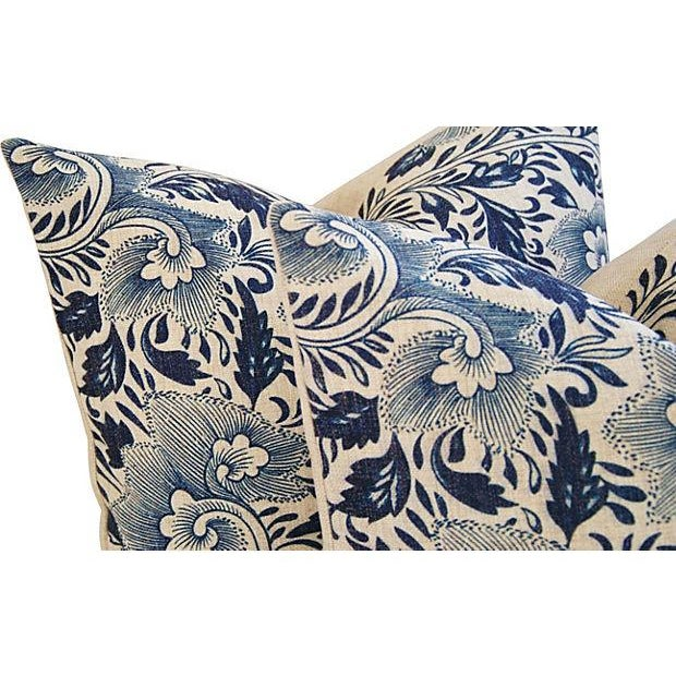 Blue Floral Linen Down/Feather Pillows - A Pair - Image 4 of 7