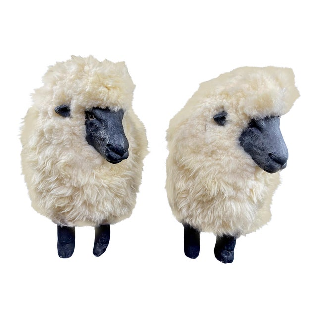 Late 20th Century Lalanne Style Sheep Footstools - a Pair For Sale
